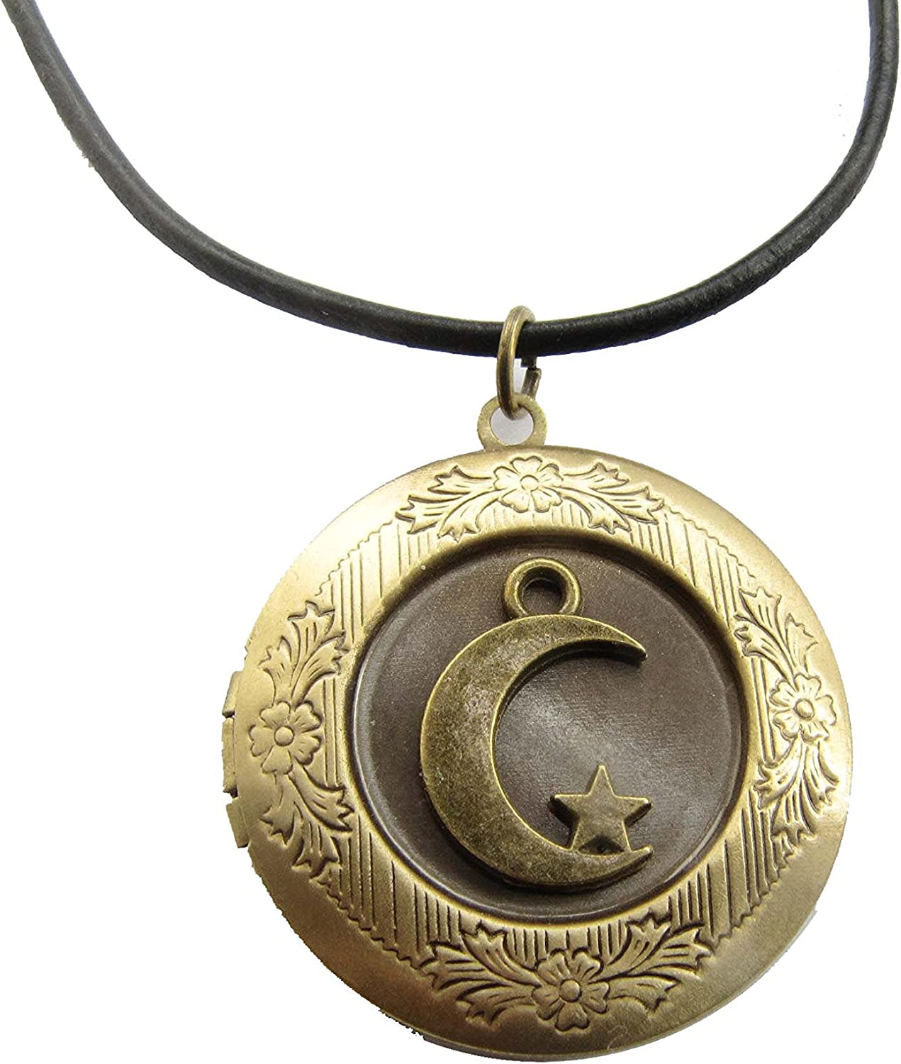 Ancient Bronze Moon Locket Necklace,Moon and Star Charm Locket Pendant,Moon Stars Locket Pendant Jewelry