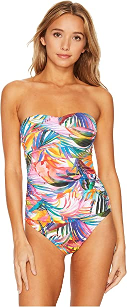 LAUREN Ralph Lauren - Tropic Palm Twist Bandeau Underwire Mio One-Piece Slimming Fit w/ Molded Cup