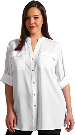 Plus Size Crew Roll Sleeve Blouse