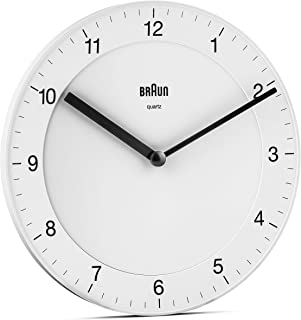 Braun Classic Analogue Wall Clock with Quiet Quartz Movement, Easy To Read, 20cm Diameter in White, model BC06W.