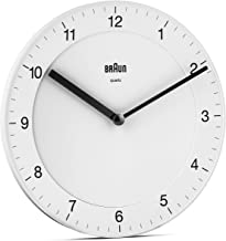 Braun Classic Analogue Wall Clock with Quiet Quartz Movement, Easy to Read, 20cm Diameter in White, Model BC06W, One Size