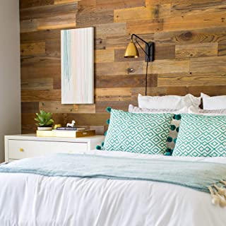 Stikwood Reclaimed Sierra Silver/Dark Brown (20 sq ft) | Premium 5 inch Wide 100% Wood Wall Planks (Redwood & Cedar) | DIY Peel & Stik Wall Decor