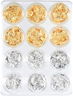 Foil Nail Art Set, 12 Pack Nail Accessories for Foil Transfer, Nail Paillette for Decoration, Flake and Mirror Effect | Gold and Silver