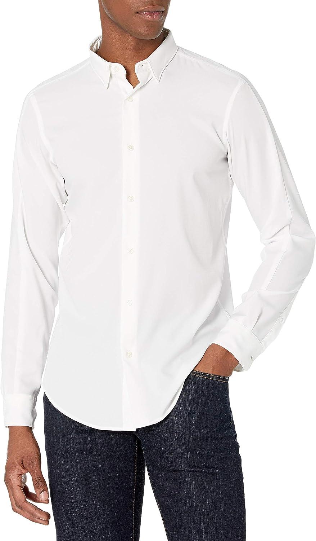 Perry Ellis Men's Motion Tall Slim Fit Crosshatch Stretch Shirt