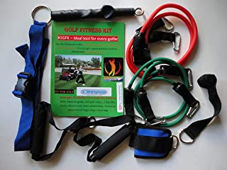 Golf Fitness Kit #1GFK - Best Way to Improve Your Strength, Flexibility, Core Stability, Balance - Key Components to Improve Your Game and Prevent Injuries. Great Tool for Every Golfer.