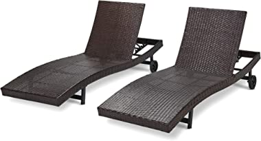 Laurel Canyon Chaise Lounge Sets with Wheels PE Rattan Adjustable Back 2 Pieces Outdoor Wicker Reclining Chair for Patio, Bea