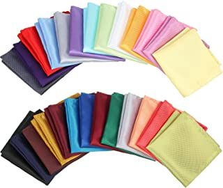 26 Pieces Mens Pocket Squares Handkerchief Mens Assorted Solid Colors Hankies for Wedding Party