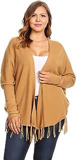 C.O.C. Curve Womens Plus Size Rib Knit Long Body Cardigan Camel - 2X