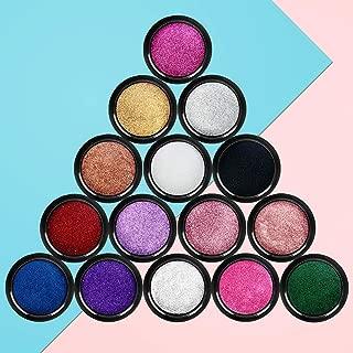 IVETTO 15 Jars Super Bright Metal Mirror Effect Nail Powder with 15 jars Nail Powder and 15 Pcs Eyeshadow Sticks