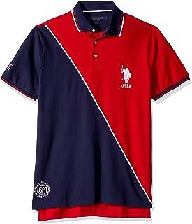 Men's Diagonal Color Block Pique Polo Shirt