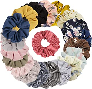 TOBATOBA 20 Pack Hair Scrunchies Chiffon Hair Ties Elastic Hair Bands Hair Ties for girl/women,20 colors