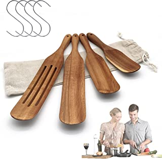 Spurtles Kitchen Tools as Seen on TV, Kitchen utensils set-Natural acacia wood is easy to clean and reusable wooden spoons...