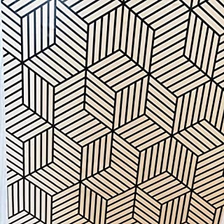 Vinyl Hexagon Self Adhesive Wallpaper 1.48ft x 9.8ft /Roll Removable Peel and Stick Wallpaper for Living room Bedroom Wall...