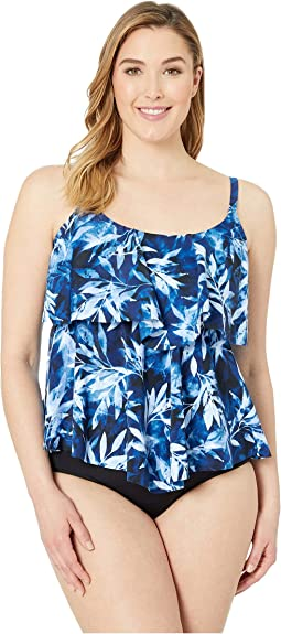Plus Size In the Navy Tiered Tankini Top