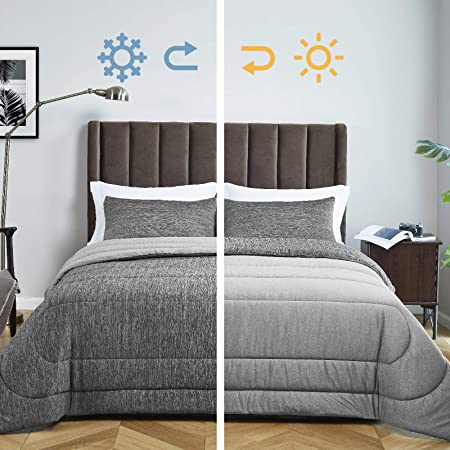 "Bedsure King Size Comforter Set - All-Season Reversible Warm&Cooling Comforter Down Alternative Bed Set - Soft Microfiber Fill Duvet Insert 3 Pieces Set - with 2 Pillow Shams - Grey(102x90"")"
