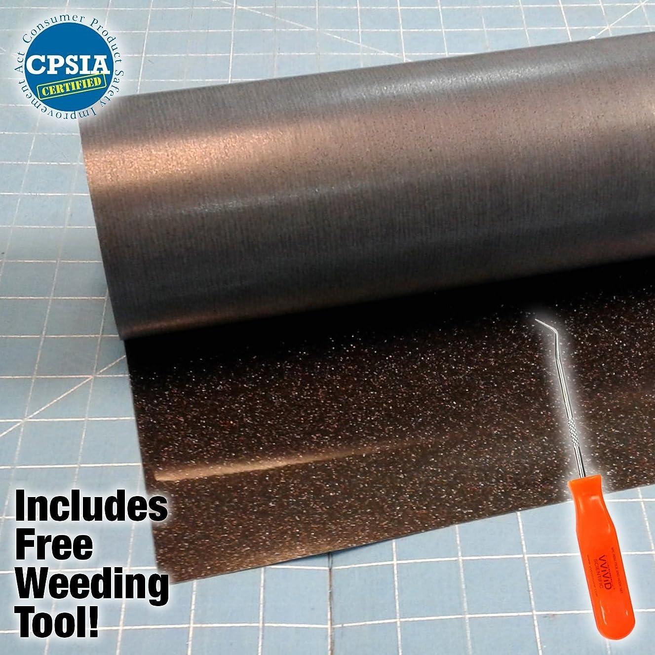 Siser Glitter Black Easyweed Heat Transfer Craft Vinyl Roll Including VViViD-Brand Stainless Steel Weeding Tool (5ft x 10