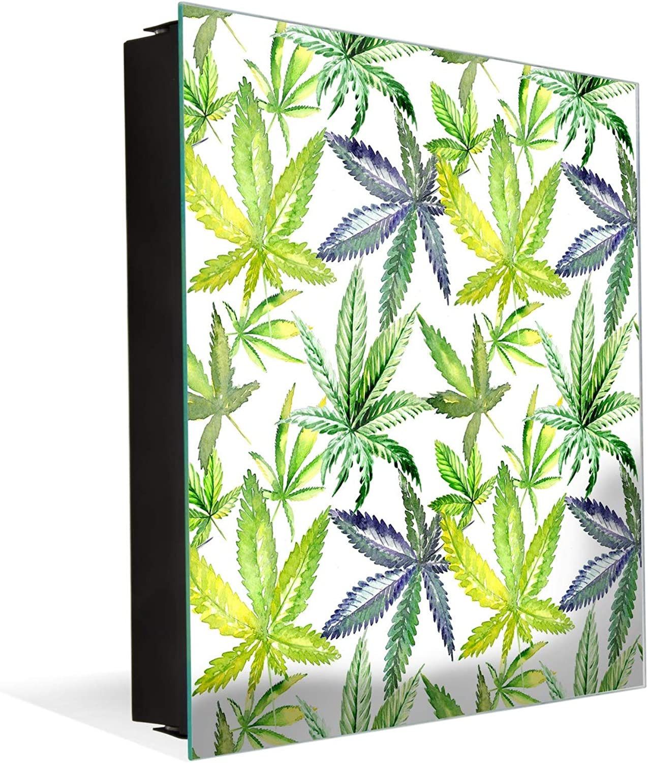 50 Keys Holder with Glass Magnetic Dry Erase Board K04 Wildflower Cannabis