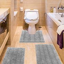 IM Home Striped Light Grey Bathroom Rug Set 3 Pieces Gray Extra Soft, Non Slip Chenille Bath Rugs Machine Washable, Absorb...