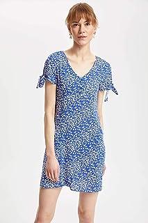 DeFacto Kolları Düğüm Detaylı Çiçek Desenli Elbise