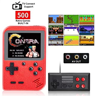 weikin 500 in 1 Retro Mini Game Player Handheld Game Console Portable Pocket Game Console Mini Handheld 2 Player Support for Connecting TV and Two Players, Good Gifts for Kids and Adult.