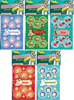 Just For Laughs Dr. Stinky's Scratch N Sniff Stickers 5-Pack- Marshmallow, Hamburger, Cola, Fresh Bread, Baby Powder 135 Stickers (Series 4)