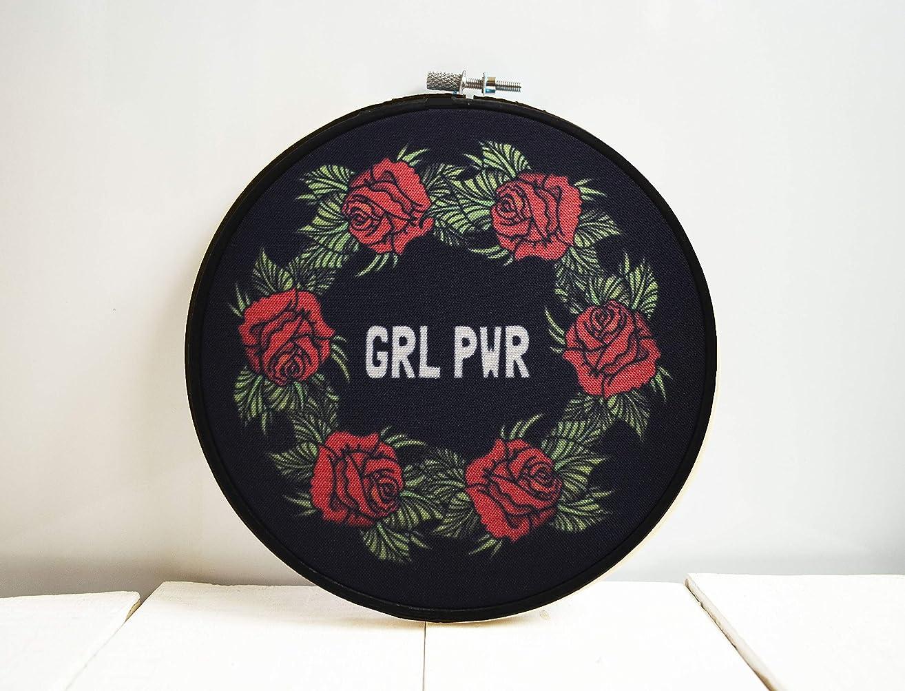 Feminist hoop art Girl Power decor GRL PWR print Feminist gift Girl boss gift Women empowerment Under 25