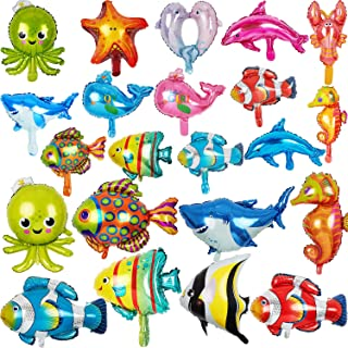 22 Pieces Foil Balloons Ocean Animals Balloons Fish Balloons Sea Animal Balloons for Kids Birthday Ocean Themed Party Decorations