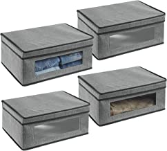 mDesign Stylowe pudełko tekstylne z pokrywą i okienkiem – Materiałowy organizer do szafy lub garderoby – Pudełko do przech...