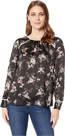 Long Sleeve Delicate Bouquet Mix Media Blouse