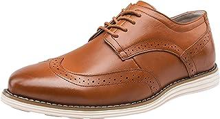 JOUSEN Men's Oxford Leather Dress Shoes Brogue Wingtip Casual Shoes