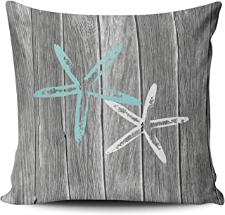 Fanaing Gray and Aqua Turquoise Beach and Starfish Pillowcase Home Sofa Decorative 20X20 Inch Square Throw Pillow Case Decor Cushion Covers One-Side Printed