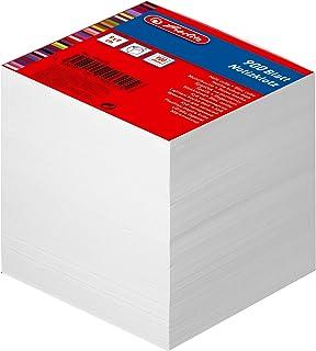Herlitz notitieblok blanco gelijmd met dekblad, 1 stuk in folieverpakking, 900 vellen, 9 x 9 cm, wit