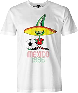 More T Vicar Retro Pique Mexico 86 - Distressed Print Hombres Football World Cup T Shirt