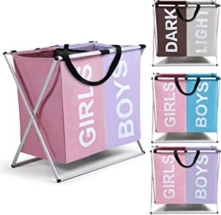 Smile Mom Twin Section Laundry Basket/Bag/Hamper (121 Litre) for Clothes with Foldable Aluminium Frame, Best for Home Bath...