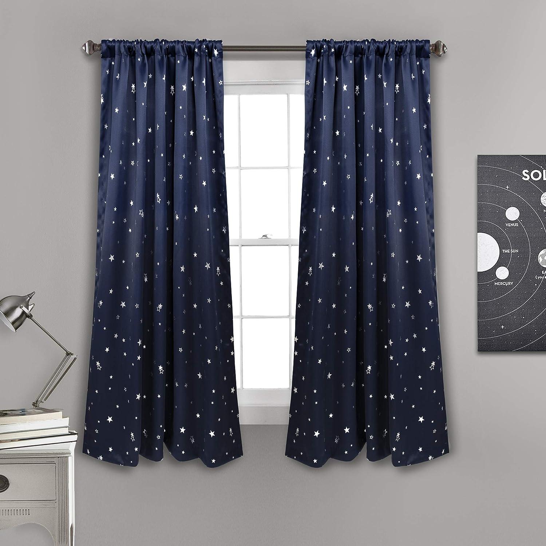 Lush Decor Star Blackout Window Curtain Panel Pair, 63  x 52 , Navy, 63  L