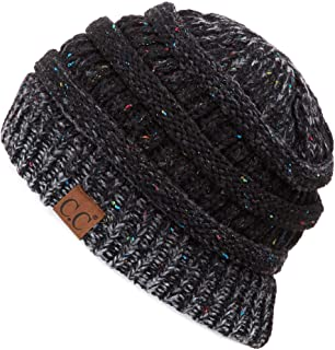 Hatsandscarf C.C Exclusives Unisex Ribbed Confetti Knit Beanie (YJ-817) (Black Ombre)
