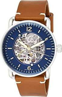 Fossil Men's The The Commuter Auto Stainless Steel Mechanical-Hand-Wind Leather Strap, Brown, 22 Casual Watch (Model: ME3159)