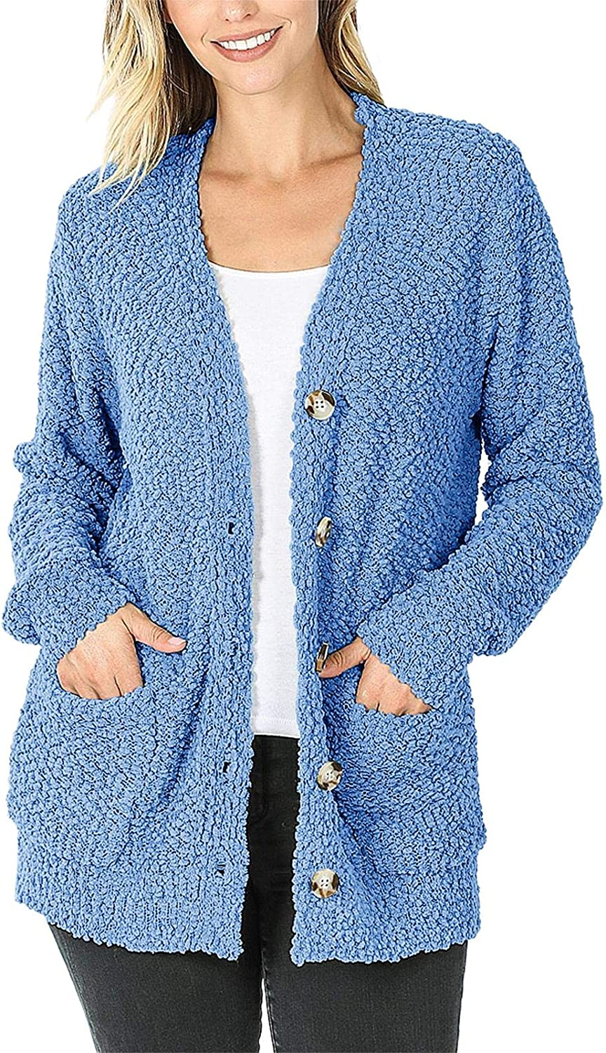 YeMgSiP Womens Popcorn Cardigan Sweaters Open Front Cardigans Button Loose Outerwear with Pockets Casual Outwear Sweater