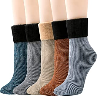 J-BOX 5 Pairs Womens Winter Warm Thick Snow Socks Thermal Wool Flannel Boots Floor Sox Vintage Crew Socks For Cold Weather