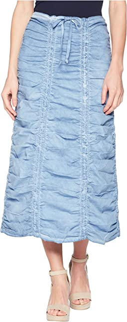 Stretch Poplin Double Shirred Panel Skirt