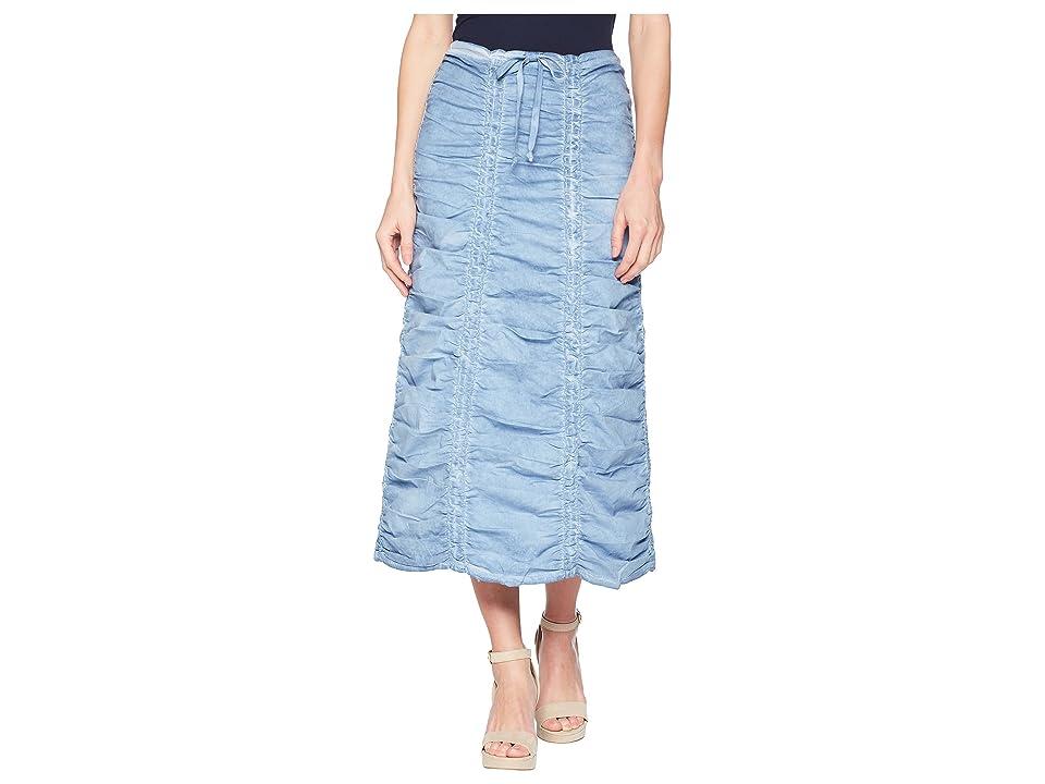 XCVI Stretch Poplin Double Shirred Panel Skirt (Cold Wash Blue) Women