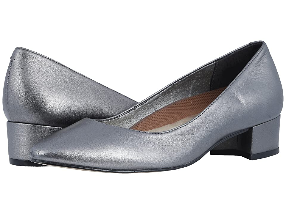 Retro Vintage Style Wide Shoes Walking Cradles Heidi Silver Metallic Leather Womens 1-2 inch heel Shoes $99.00 AT vintagedancer.com