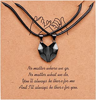 OEMOO Two Souls One Heart Matching Couples Necklaces, Magnetic Heart Pendant Necklaces for Couples and Best Friends