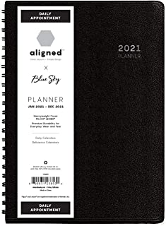 "$28 » Blue Sky Aligned 2021 Daily Appointment Planner, Heavyweight Cover, Semi Concealed Wire Binding, 5"" x 8"", Black (123853)"