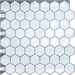 Crystiles Peel and Stick Vinyl Wall Stick-on Tile Backsplash for Kitchen and Bathroom Décor Project, Hexagon White, Item #91010839, 10 in X 10 in, 4 Sheets Pack