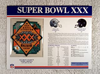 Super Bowl XXX (1996) - Official NFL Super Bowl Patch with complete Statistics Card - Dallas Cowboys vs Pittsburgh Steelers - Larry Brown MVP