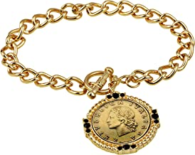 American Coin Treasures Italian 20 Lira Coin Toggle Charm Bracelet - Italian 20 Lire Goldtone Toggle Bracelet with Faceted Round Jet Glass Stones- Italian Medallion Bracelet