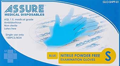 Assure Soft Nitrile Powder Free Gloves, Small, 100 count