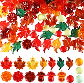 WILLBOND 385 Pieces Thanksgiving Leaves Table Scatter Acrylic Fall Leaves Acrylic Pumpkin Maple Leaves Acorns Embellishments for Thanksgiving Christmas Party Decorations