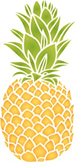 Pineapple Stencil - 6 x 13.5 inch (L) - Reusable Fruit Vegetable Kitchen Wall Stencil Template - Use On Paper Projects Scrapbook Journal Walls Floors Fabric Furniture Glass Wood Etc.